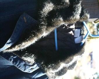 Denim Coat-Full length--Faux Fur Trim