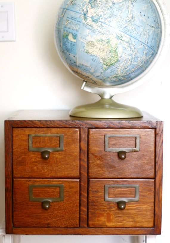 Vintage Oak Card Catalog Dovetail Design Library Four Drawer File Cabinet 1930s