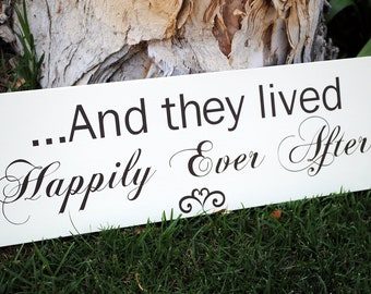 Extra long Here Comes the Bride and they lived happily ever after Flower Girl sign  DOUBLE SIDED