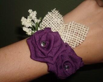 White Burlap Wrist Corsage