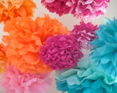 15 Mixed Size Tissue Paper Pom Poms Choose Your Colors or Mix Colors - 38 Color Choices//Party Decor//SHIPS FAST