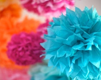 CHOOSE YOUR OWN Colors / 10 Tissue Paper Poms / 43 Color Options / Bridal or Baby Shower Decor / Nursery Decor / Birthday Decor / Grad Party