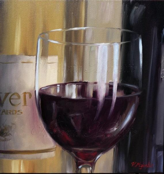 Art, Painting, original painting, modern, contemporary  Wine Art, Oil Paintigng, Wine still life on Etsy