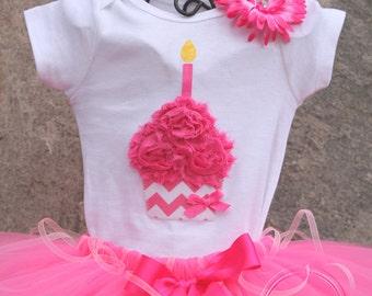 PINK CHEVRON --Birthday Girl Cupcake Bodysuit or Shirt Only, sizes Newborn-5T