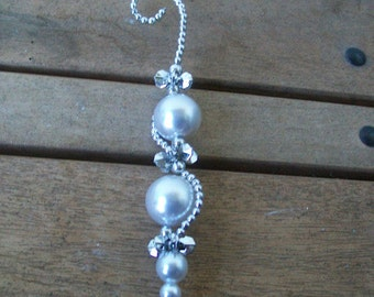 Elegant Silver and Pearl Icicle Ornament