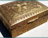Brass and Teak Wood Jewelry Box 1970s / Trinkets / Gift / Container