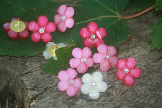 Thumbtacks Flower Gem Thumbtacks Daisy Thumbtacks  Pink Flower Thumbtacks Push Pins Pushpins