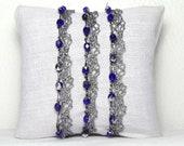 Unique Lace Wrap Bracelet with Hand Sown Blue Beads