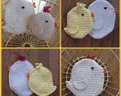 Set of 2 chicken / bird crocheted potholders / hot pads / trivets