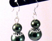 Olive Green Pearl & Silver Filigree Earrings, Green Jewelry, Green Earrings, Olive Jewelry, Fall Jewelry, Birthday Gifts