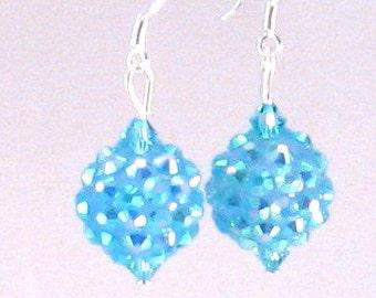 Aqua Blue Sparkle Ball & Crystal Earrings, Aqua Blue Jewelry, Aqua Blue Earrings, Summer Jewelry, Womens Fashion, Birthday Gifts