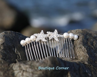 Starfish Bridal Hair Accessories -  Bridal Hair Comb - Bridal Hair Accessory -  Starfish - Swarovski Pearls - Beach Wedding Hair Piece