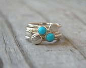 Turquoise Stacking Rings, Sterling Silver, Turquoise, Gemstone