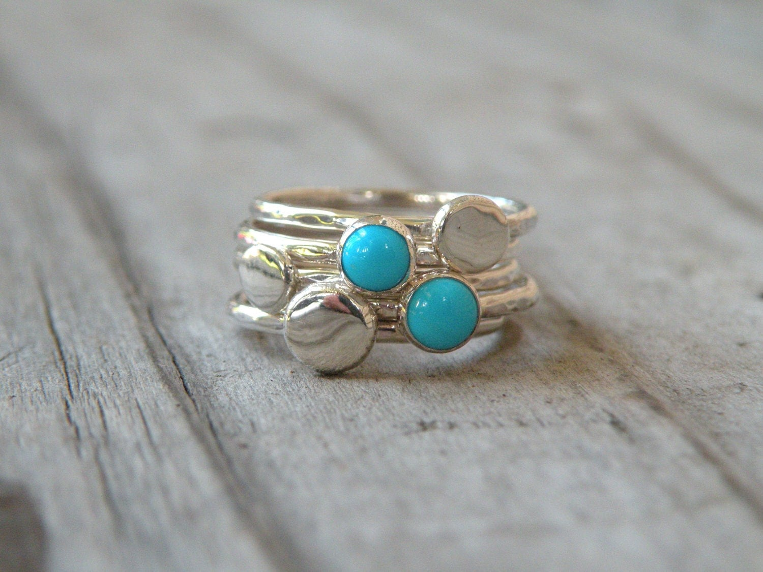 turquoise stacking rings sterling silver by meshedesignsllc