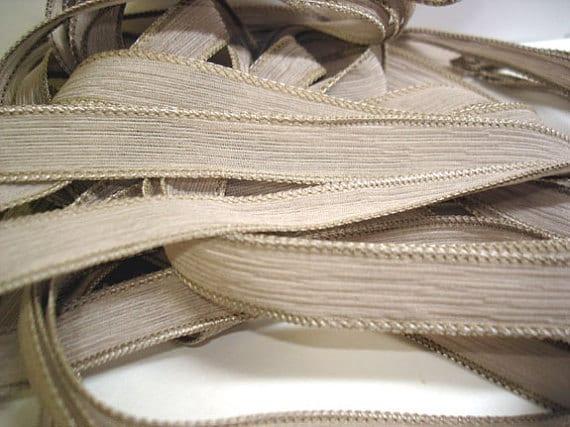Hand Painted Silk Ribbon Cappucinno Wrist Wrap Ribbons