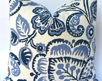 Decorative Indoor Outdoor Pillow Cover, Large Floral Leaf Pillow Cover, 18x18, 20x20, 22x22, or lumbar, Blue, Throw Pillow