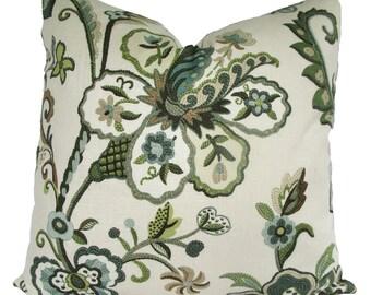 Decorative Designer Jacobean Leaf, Crewel Floral Garden Pillow Cover, Green, Aqua, Sea Glass, 18x18, 20x20, 22x22 or Lumbar, Throw Pillow
