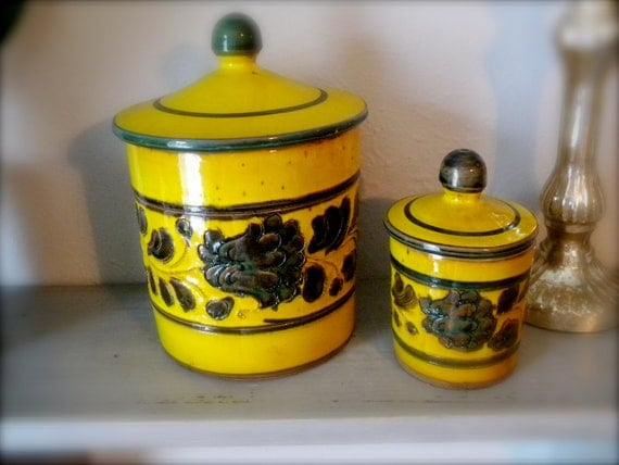 Vintage yellow and green Terracotta made in ITALY Kitchen Canisters