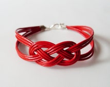 Leather Sailor Knot Bracelet - Red Leather Strap Bracelet with Sailor Knot - Simple and Stylish