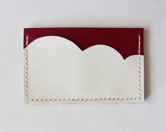 Business Card Case - Leather Card Holder with Burgundy Red Sky and White Cloud - Handmade and Hand Stitched - Free Monogram