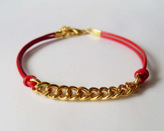 Red Leather Chain Bracelet - Red Leather Bracelet with Gold Chain