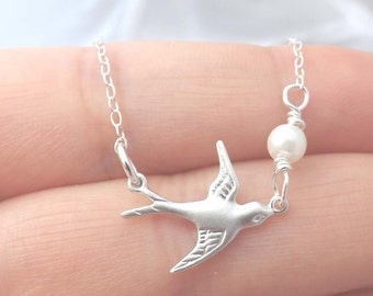 Silver bird Necklace - Sterling Silver Necklace - Mother's day, Bridesmaid, Wife, Girl friend