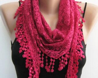 Lace scarf, fuchsia scarf, summer scarf, handmade frilly scarf, lace fashion