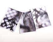 """Set of three notecards Detail prints from my photographs Abstract architectural detail Black and white 4.25x6"""""""
