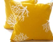 yellow throw pillow cover, Yellow Coral pillow cover, All sizes,  indoor/outdoor beach pillow, toss pillow, accent pillow
