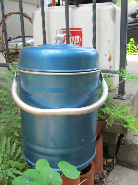 Blue Metal Water Cooler Hot/Cold Keeper Miner's Lunch Pail