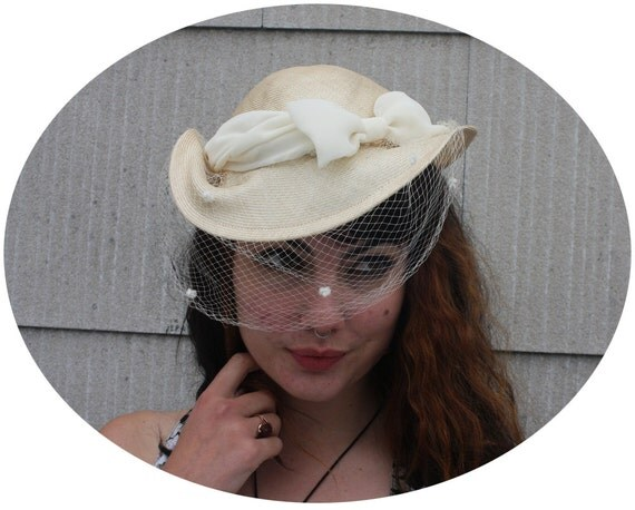 Vintage VEILED STRAW Hat - Tied with a Bow - late 80s