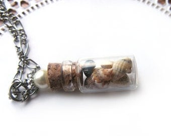 Tiny Seashells Glass Bottle Necklace - Shells in Glass Vial -  Beach Jewelry - Glass Bottle Pendant - Beach Necklace