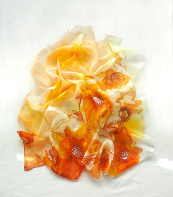PAROS. Hand Painted square Silk Scarf. Orange Yellow Silver Silk Shawl Wrap. Dahlias Fashion. 35,4 x 35,4 in. (90x90cm). Ready to Ship.