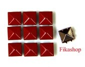 20% Off Clearance SALE: 9mm 100pcs Red polished pyramid studs (8 legs) / HIGH Quality - Fikashop