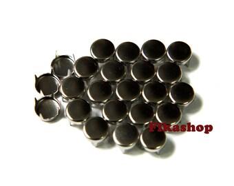 25% Off Clearance SALE: 4mm 100pcs Silver flat head round studs / HIGH Quality -  Fikashop