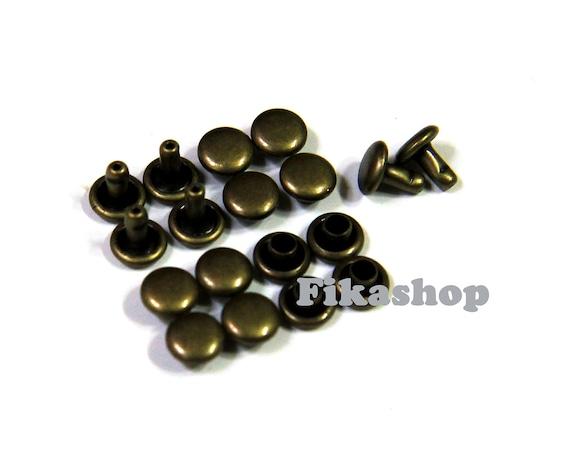 Clearance SALE: 6mm 200 sets Brass round double cap Rivet rapid studs / HIGH Quality - Fikashop