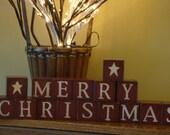 MERRY CHRISTMAS Decorative Christmas Primitive Blocks
