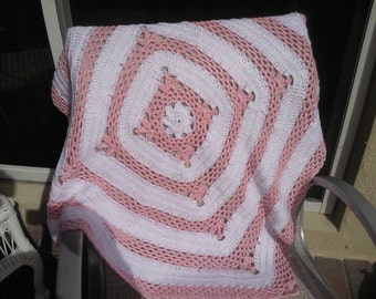 Crochet pink and white baby girl blanket