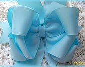 Blue Hair Bow....Girls Hair Bow... Baby Blue Triple Layer Spikey Boutique Bow....with headband