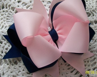 Pink and Navy Hair Bow...Girls Hair Bow...Toddler Hair Bow with headband