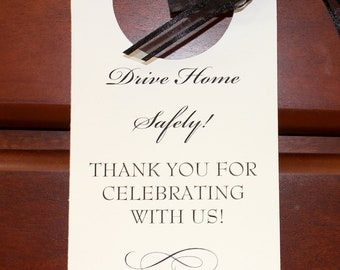 Wedding PERSONALIZED VALET PARKING Tag - Drive Home Safe Rear View Mirror Tags - with your choice of Ribbon and Font Color