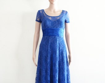 Blue Lace Dress. Bridesmaid Dress. Party Dress. Dress With Sleeves