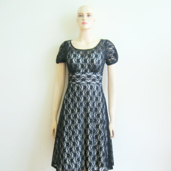 Black Lace Dress.Evening Dress.Party Dress.Dress With Sleeves.Knee Length Dress