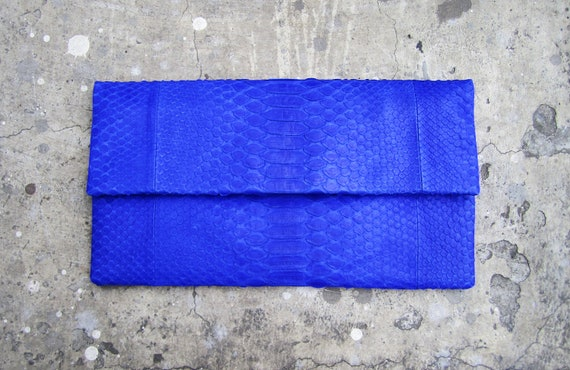 NEON - Oversize Blue Fold Over Python Snakeskin Leather Clutch Bag