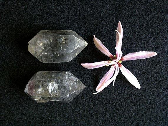 Two Tibetan Black Phantom Quartz Crystals, Double terminated, Natural and Untreated, Akasha, Chakras