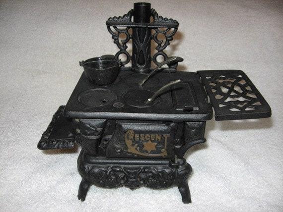 Vintage Crescent Cast Iron Miniature Wood Burning