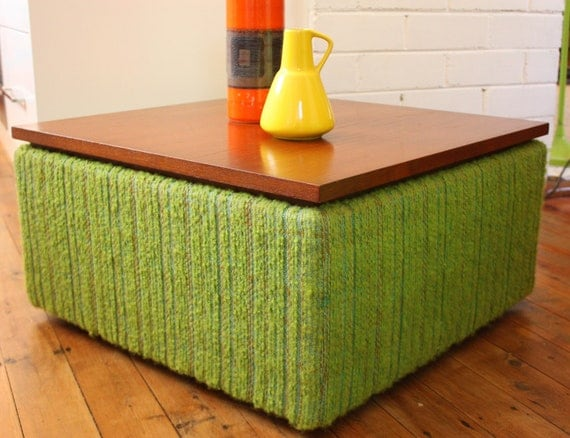 vintage retro 1970s coffee table storage box on wheels lime. Black Bedroom Furniture Sets. Home Design Ideas