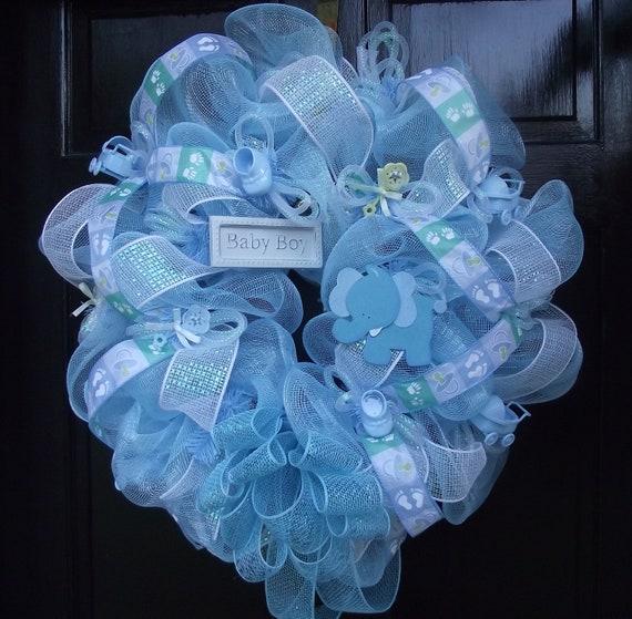 Deco Mesh Baby Boy Wreath