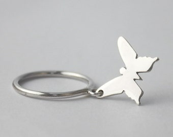 Silver charm Butterfly Ring... 925 Sterling silver Stacking ring with loose butterfly charm