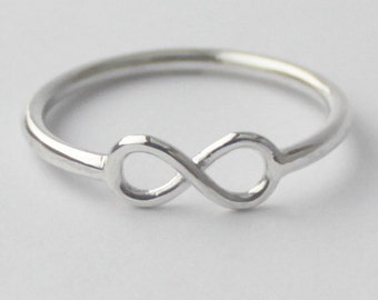 Sterling Silver Infinity knot Sign Ring, Infinite Love, Friendship ring, Statement, Novelty Stack ring, Pinky Fashion, St. Patricks Day gift